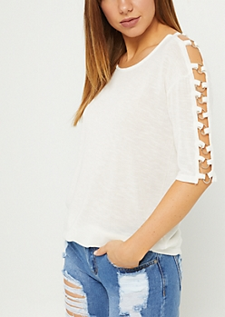 Ivory Caged O-Ring Ribbed Tee