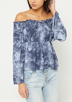 Navy Tie Dye Off Shoulder Top