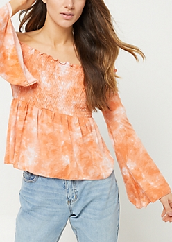 Burnt Orange Tie Dye Off Shoulder Top