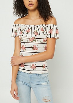 White Striped Floral Print Off Shoulder Ruffle Top