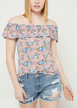 Pink Floral Print Off Shoulder Ruffle Top