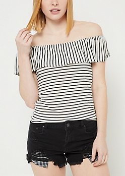 Black Stripe Print Off Shoulder Ruffle Top