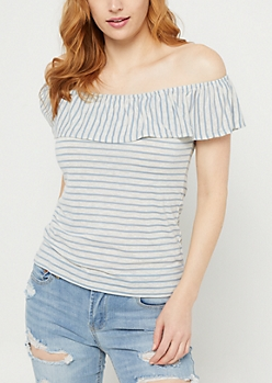 Blue Stripe Print Off Shoulder Ruffle Top