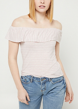 Pink Striped Off The Shoulder Ruffle Top