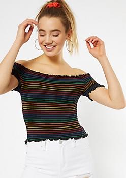Black Smocked Rainbow Striped Top