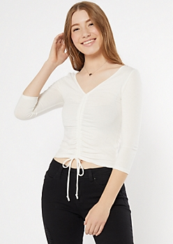 White Ruched V Neck Top