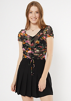 Black Floral Ruched Mesh Top