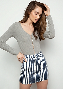 Heather Gray Ribbed Knit Button Down Shirt