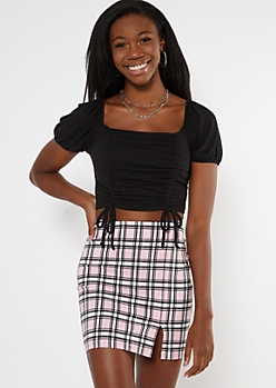 Black Ruched Puff Sleeve Drawstring Ruched Top