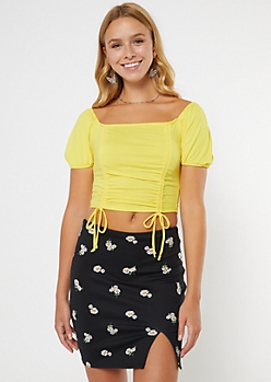 Mustard Ruched Puff Sleeve Drawstring Ruched Top