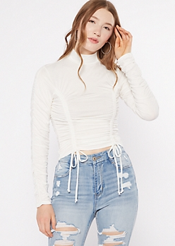 Ivory Ruched Mock Neck Crop Top
