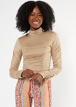 Taupe Ruched Mock Neck Crop Top