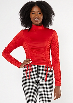 Red Ruched Mock Neck Crop Top