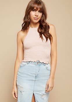 Pink Striped Lettuce Edge Smocked Halter Crop Top