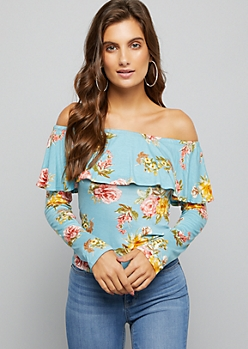 Light Blue Floral Print Flounced Off The Shoulder Top