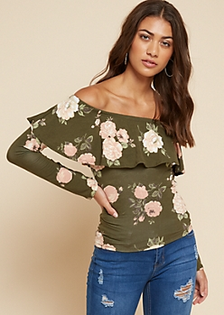 Olive Floral Print Flounce Long Sleeve Top