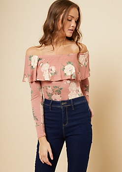 Light Pink Floral Print Flounce Long Sleeve Top
