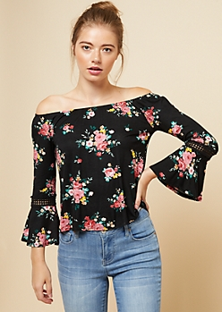 Black Floral Print Crochet Sleeve Top