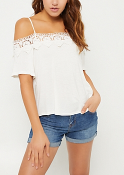 White Crochet Trim Cold Shoulder Tee