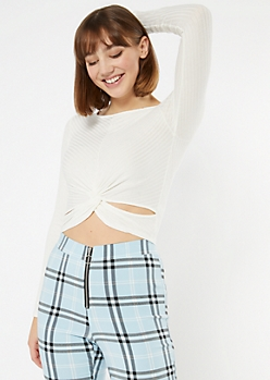 Ivory Twist Hem Ribbed Knit Crop Top