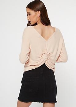 Beige Ribbed Knit Twist Back Top