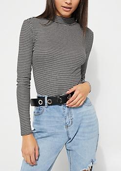 Stripe Long Sleeve Keyhole Cutout Bodysuit