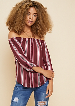 Burgundy Striped Button Down Off The Shoulder Top