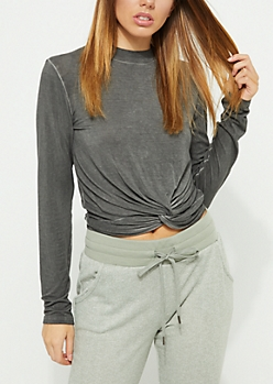 Vintage Washed Knotted Crop Top