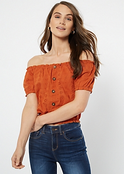Burnt Orange Floral Eyelet Off The Shoulder Top