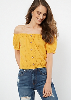 Mustard Floral Eyelet Off The Shoulder Top