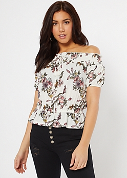 Ivory Floral Print Off The Shoulder Peplum Top
