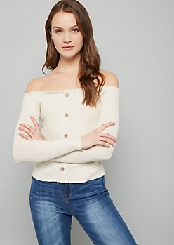 Oatmeal Button Down Off The Shoulder Ribbed Knit Top