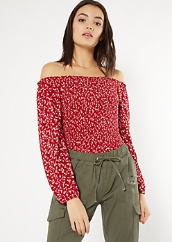 Red Floral Print Smocked Bubble Sleeve Top