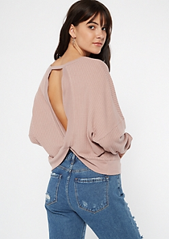 Mauve Open Back Slouchy Waffle Knit Top