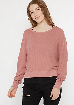 Dusty Pink Open Back Slouchy Waffle Top
