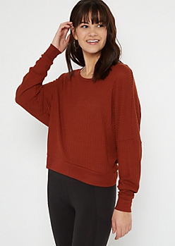 Burnt Orange Open Back Slouchy Waffle Top