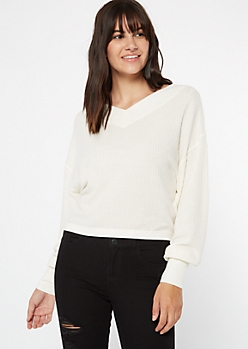 Ivory Dual V Neck Slouchy Waffle Top