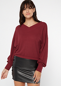 Burgundy Dual V Neck Slouchy Waffle Sweater