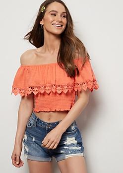 Coral Crochet Off The Shoulder Crop Top