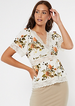 Ivory Floral Print Lace Trim Top