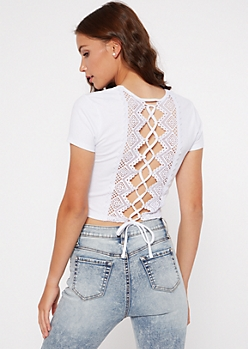 White Crochet Lace Up Back Baby Tee