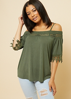 Olive Crochet Trim Cold Shoulder Swing Top