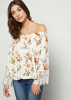 Ivory Floral Print Crochet Off The Shoulder Top