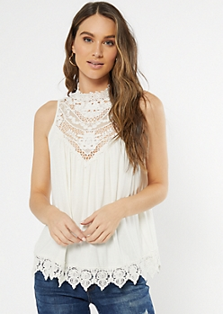 Ivory Crochet Mock Neck Tank Top