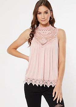 Pink Crochet Mock Neck Tank Top