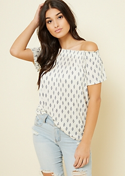 Cream Diamond Print Off The Shoulder Top