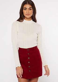 Ivory Pointelle Mock Neck Top
