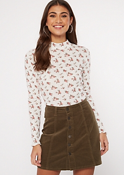 Ivory Floral Print Pointelle Mock Neck Top