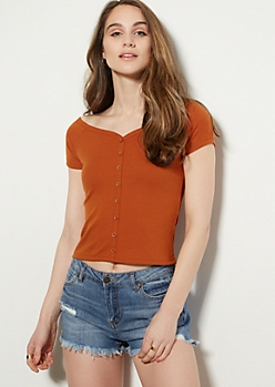 Orange Button Front Off The Shoulder Top