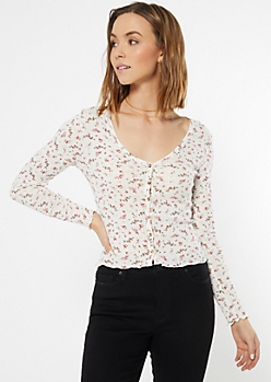 Ivory Floral Print Fitted Pointelle Top